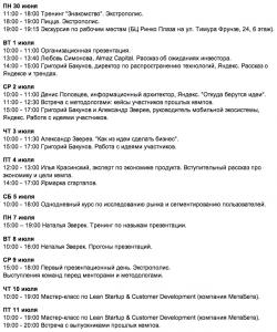 Расписание первых двух недель Yandex Camp
